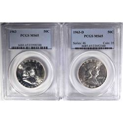 1963 & 63-D FRANKLIN HALF DOLLARS, PCGS MS-65