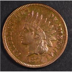 1874 INDIAN ONE CENT CH BU R&B