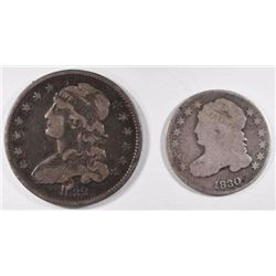 1830 CAPPED BUST DIME & 1832 QUARTER