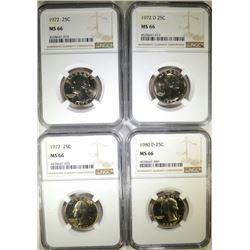 NGC MS66 QUARTER LOT; 1972, '72-D, '77, '80-D