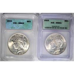 2 - 1923 PEACE DOLLARS ICG MS63 & MS64