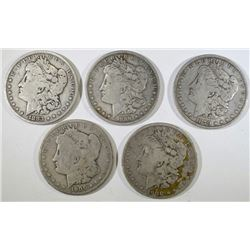 5-MORGAN DOLLARS; 1879, 1883, 1889-O,2- 1900-O