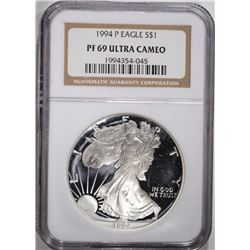 1994-P AMERICAN SILVER EAGLE, NGC PF69 ULTRA CAMEO