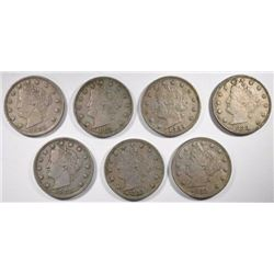 7-1883 WITHOUT CENTS LIBERTY NICKELS, XF-AU