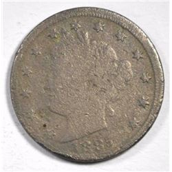 1885 LIBERTY NICKEL, GOOD BUT POROUS KEY DATE