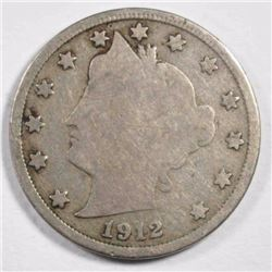 1912-S LIBERTY NICKEL, GOOD KEY DATE