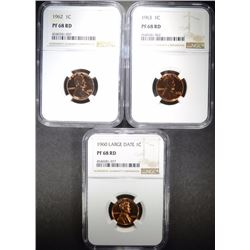 1960 LD, 1962, & 63 LINCOLN CENTS, ALL NGC PF68 RD