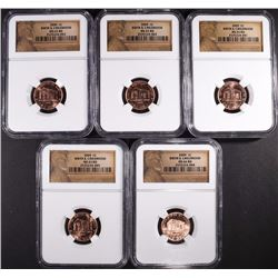 LOT OF 5 - NGC GRADED LINCOLN CENTS