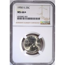 1950-S WASHINGTON QUARTER NGC MS-66+