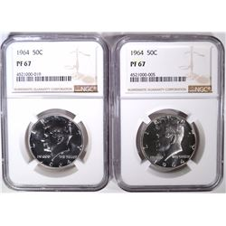 2- 1964 KENNEDY HALF DOLLARS, BOTH NGC PF-67