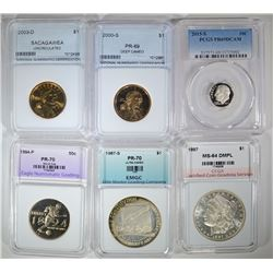 GRADED LOT; 1887 MORGAN CCGS GEM BU, 1987-S $1