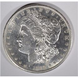 1889-S MORGAN SILVER DOLLAR, CH BU SEMI-KEY