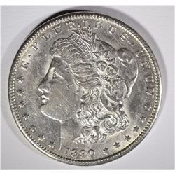 1890-CC MORGAN SILVER DOLLAR, AU+ KEY DATE