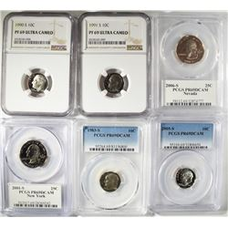6 - GRADED COINS; NGC & PCGS PROOF 69's