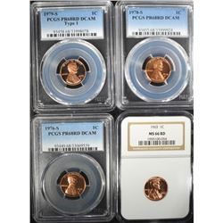 4 - GRADED LINCOLN CENTS; NGC & PCGS