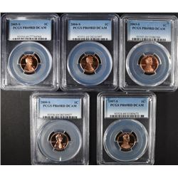 5 - PCGS PR69RD DCAM LINCOLN CENTS;