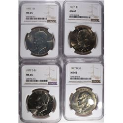 4-IKE DOLLARS NGC MS65; 2-1977, 2-1977 D