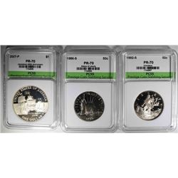 3- SILVER COMMEMS: 2- HALVES & 1 DOLLAR W/COA