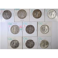 (10) NICE MIXED DATE WALKING LIBERTY HALVES, VF/XF