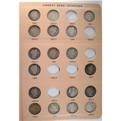 PARTIAL BARBER QUARTER SET, 63 COINS