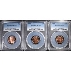 (3) 1995 LINCOLN CENTS PCGS MS-67 RED