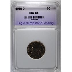 1950-D JEFFERSON NICKEL, ENG SUPERB GEM BU