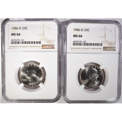 (2) 1986-D WASHINGTON QUARTERS, NGC MS-66