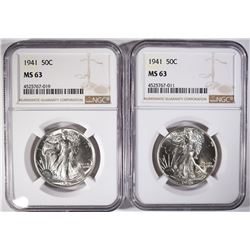 2- 1941 WALKING LIBERTY HALF DOLLARS, NGC MS-63