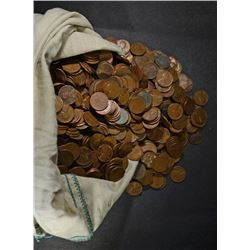 CANVAS BAG OF 5000 LOOSE CIRC LINCOLN WHEAT CENTS