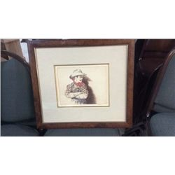 Rodeo Clown Framed Artwork Signed by SM Thompson