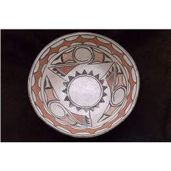 "Zia Dough Bowl- C. 1920- Hand Painted- Good Condition- 4.5""H X 11.5"" W"