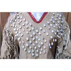 "Great Lakes Beaded Fringed Dress- 100+ Shells- 43"" L"