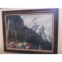"""Unsigned Oil on Canvas- By Stevensville, MT. Artist- 48"""" X 38"""""""