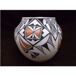 """Acoma Pot- C. 1960- Hand Coiled- Cloud and Rain Pattern- Small Pits- 7.75"""" H X 7.75 W"""