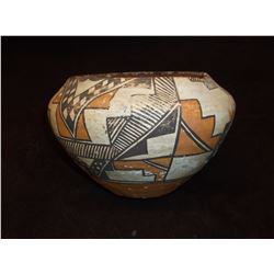 """Acoma Bowl- C. 1920- Formerly in Wolfe Collection of Kansas- Repaired- 4.5""""H X 6.5""""W"""