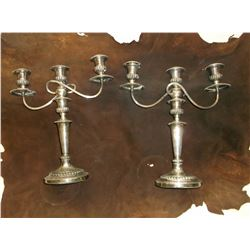 """Two Silver Plate Candle Holders- 15.5""""H X 13.5""""W"""