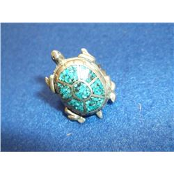 Unmarked Sterling and Turqoise Turtle Ring