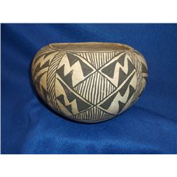 "Old Acoma Pot- Mountain and Rain Motif- Some Pitting- 4.75""H X 6.75""W"