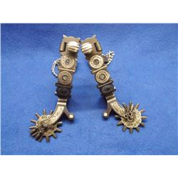 Marked EG Star Magdalena Sonora Silver Inlaid Spurs- Chap Guards- Jingle Bobs- Rowel Covers