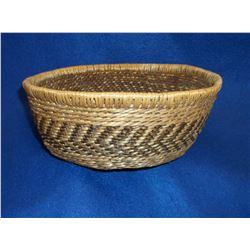 "Pima Basket- C. 1950- Devils Claw, Willow and Bear Grass Constructed- 3.5""H X 8.5""W"