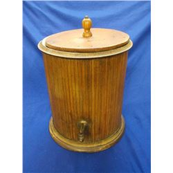 "Wooden Porcelain Lined Water Cooler- Lid- 16.5""H X 14.5""W"