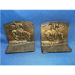 "Unmarked ""Trails End"" Bookends- Brass 5""H X 5""W"