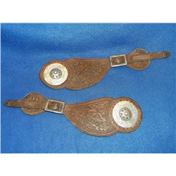 "Unmarked Frank Schultz Silver Conchos- Domed- 2""- Marked Frank Schultz 2 Piece Straps"