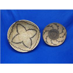 "2 Papago Baskets- C. 1950-1960- 2.5""H X 12""W- 2.5""H X 8.5""W"