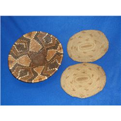 "Early Hopi Baskets- 3.25""H X 12.5""W- 2 Early Hopi Woven Mats- 9""L X 7.25""W"