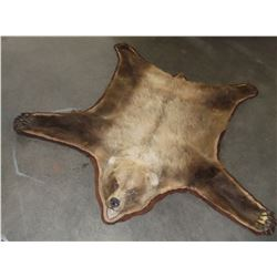 "Grizzly Bear Rug- Paper Work- Nose To Tail 79""- Across Front Legs 92""- Across Back Legs 82"""