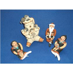 4 Jenez Pottery Storytellers- Hand Coiled- Contemporary- New Mexico