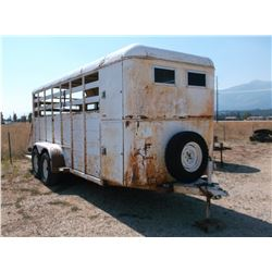1981 Miley Stock Trailer- Feed Manger- Front Tack- Escape Door- Slamgate- Mats- Decent Rubber