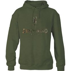 MEN'S HOODIE GREEN/CAMO SMALL WITH BUCK MARK LOGO