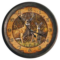 BUCK & DOE METAL WALL CLOCK 15""